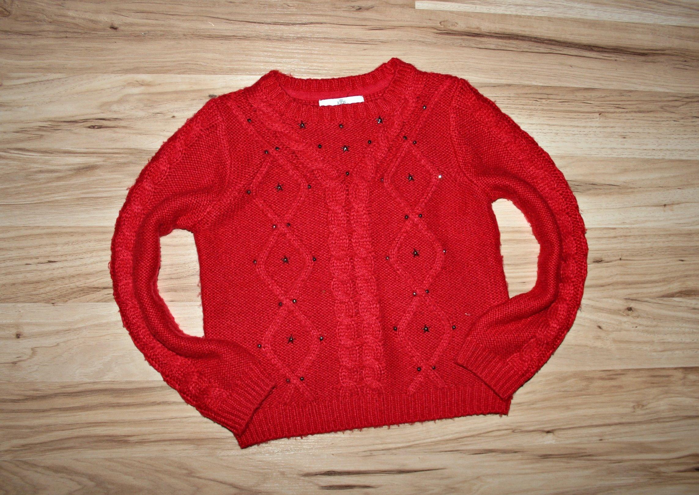 M&S czerwony sweterek GWIAZDKI 134-140