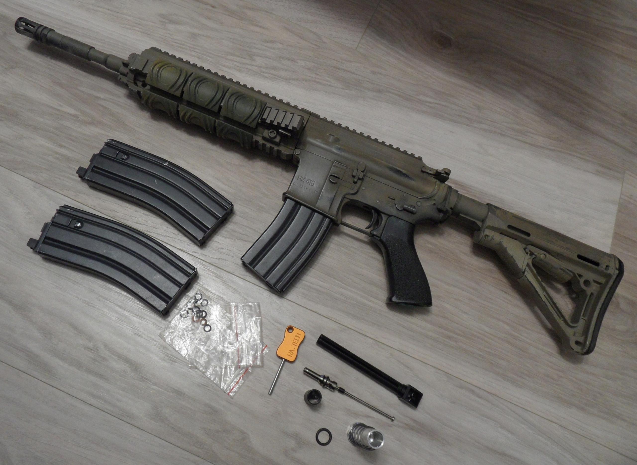 WE-888 HK416 GBB, 3 MAGAZYNKI GG, MAGPUL, MONTAŻ