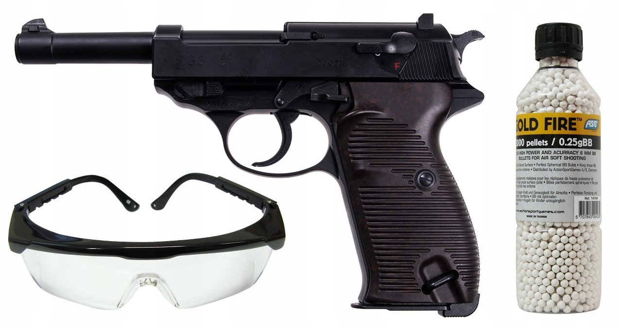 Pistolet GBB Walther P38 ZESTAW KULKI + OKULARY