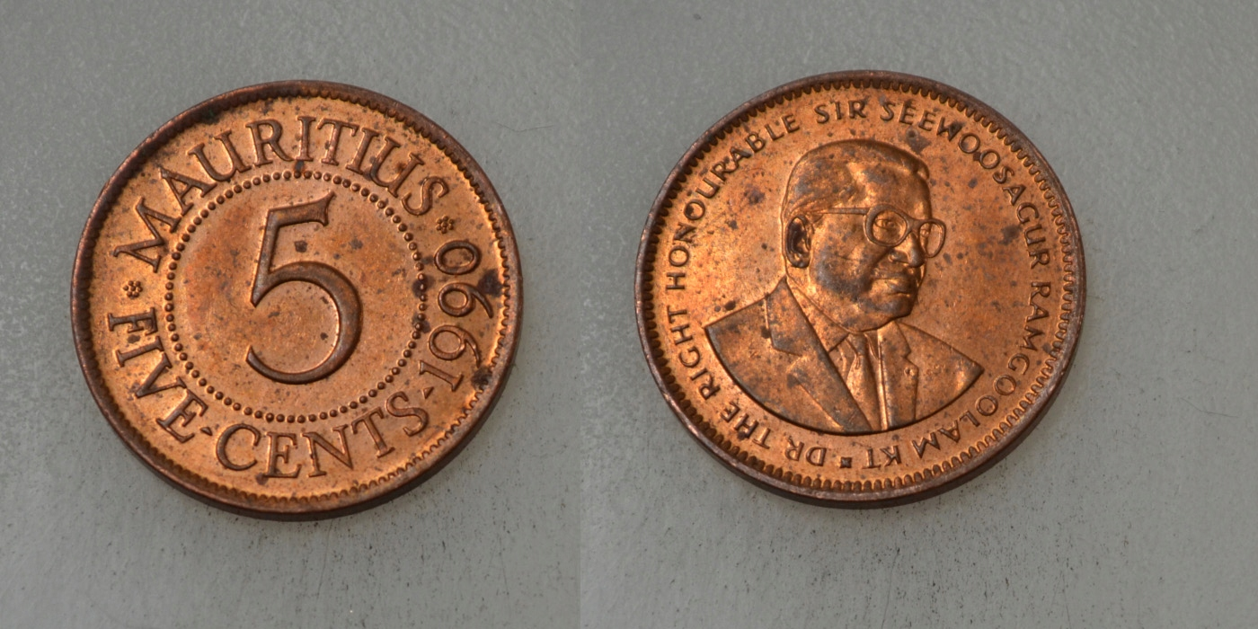 Mauritius 5 Cents 1990 rok BCM