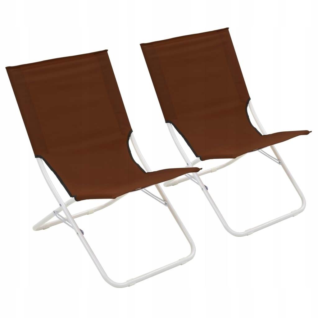 Składane krzesła plażowe, 2 szt., brązowe GXP-6831