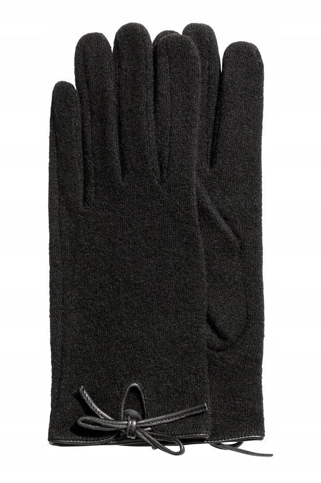 H&M ciepłe wełniane rękawiczki cienkie M
