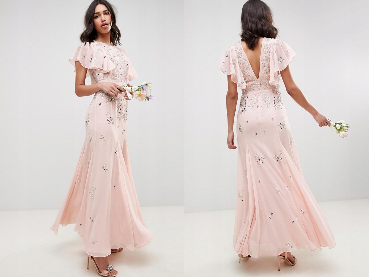 Różowa szyfonowa sukienka z ozdobami 3XL/46