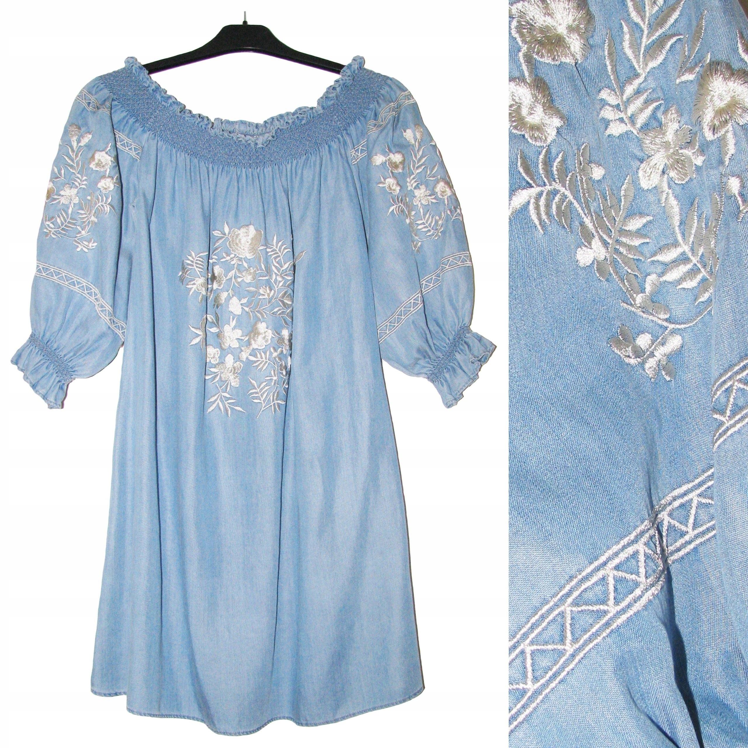 ZARA Niebieska Sukienka OFF THE SHOULDER Hafty L
