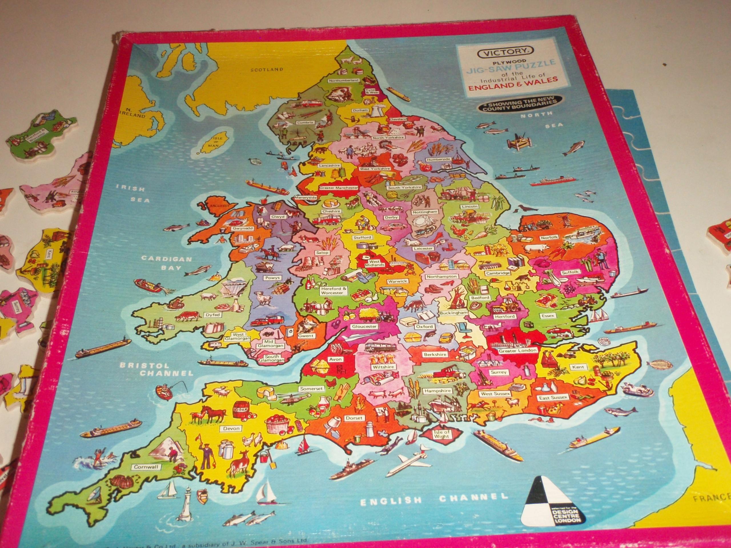 Puzzle drewniane 125 elem. Mapa Anglii i Walii