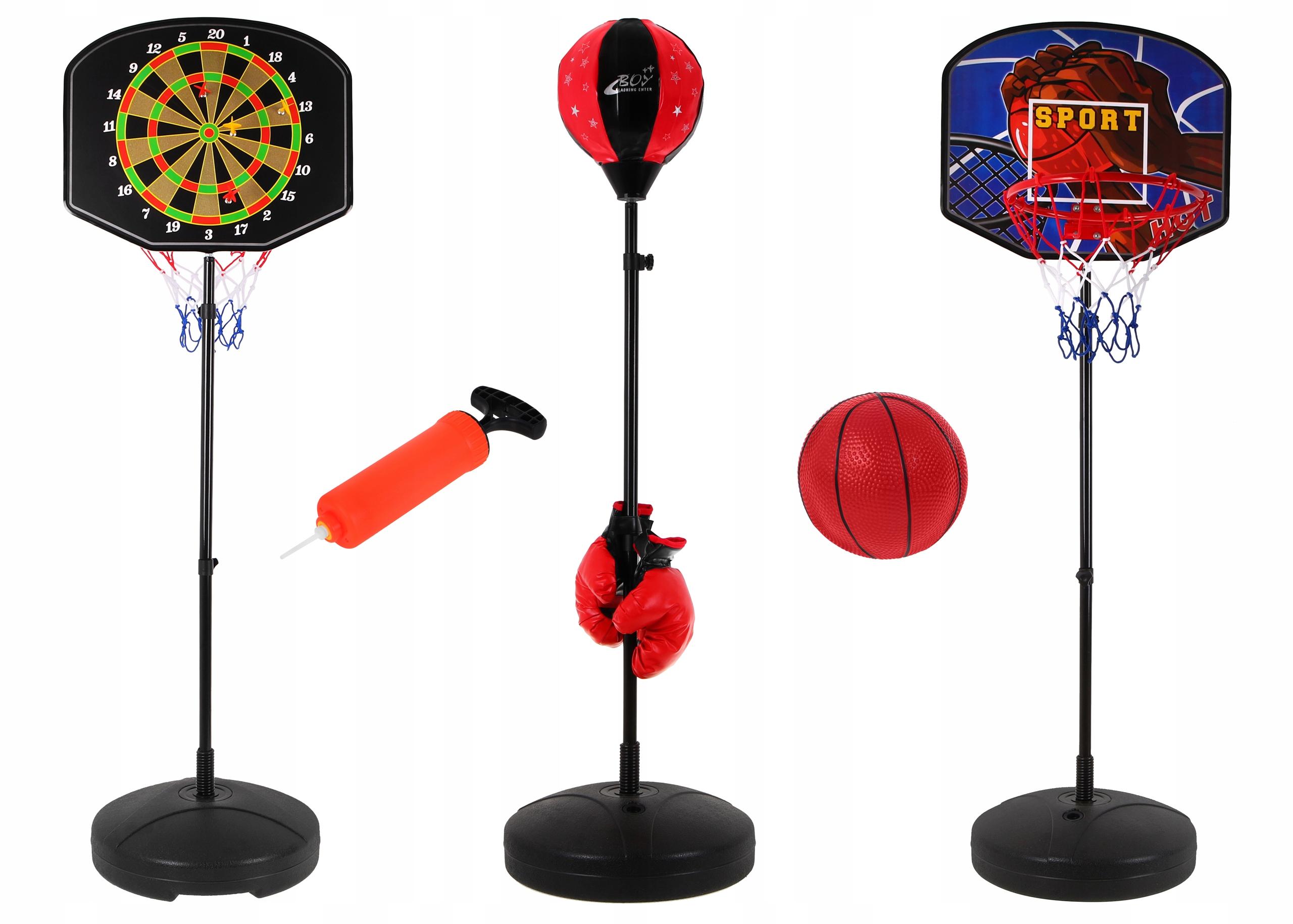 domowy sportowy ZESTAW 3 gier KOSZYKÓWKA BOKS DART