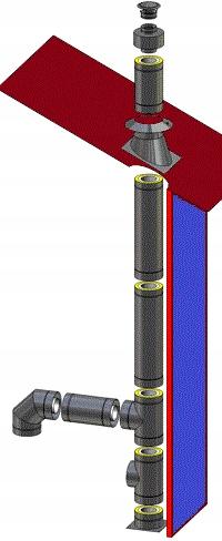 Komin izolowany-węgiel, drewno,130/0,8 mm/8,15 m