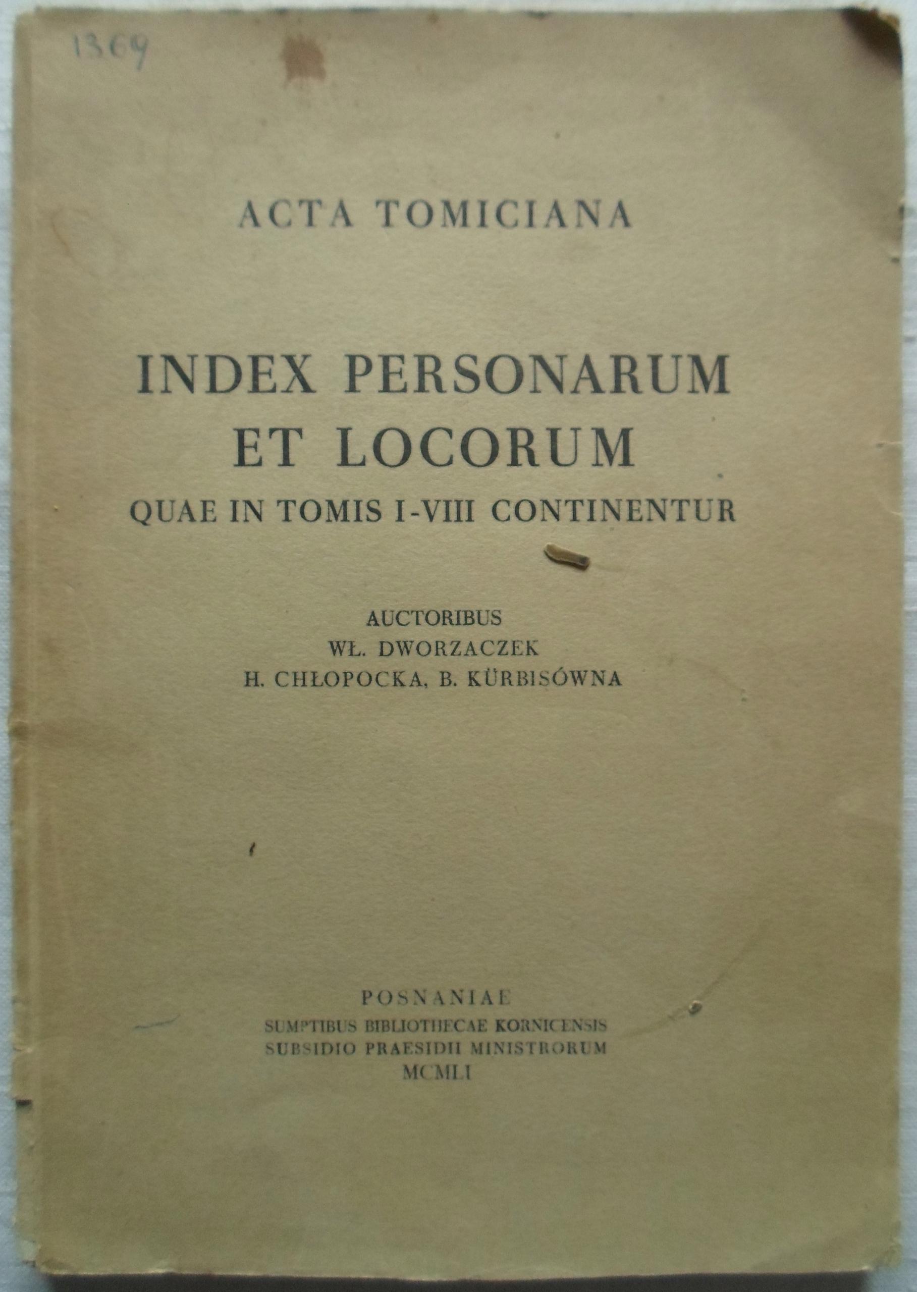 Acta Tomiciana Index personarum et locorum