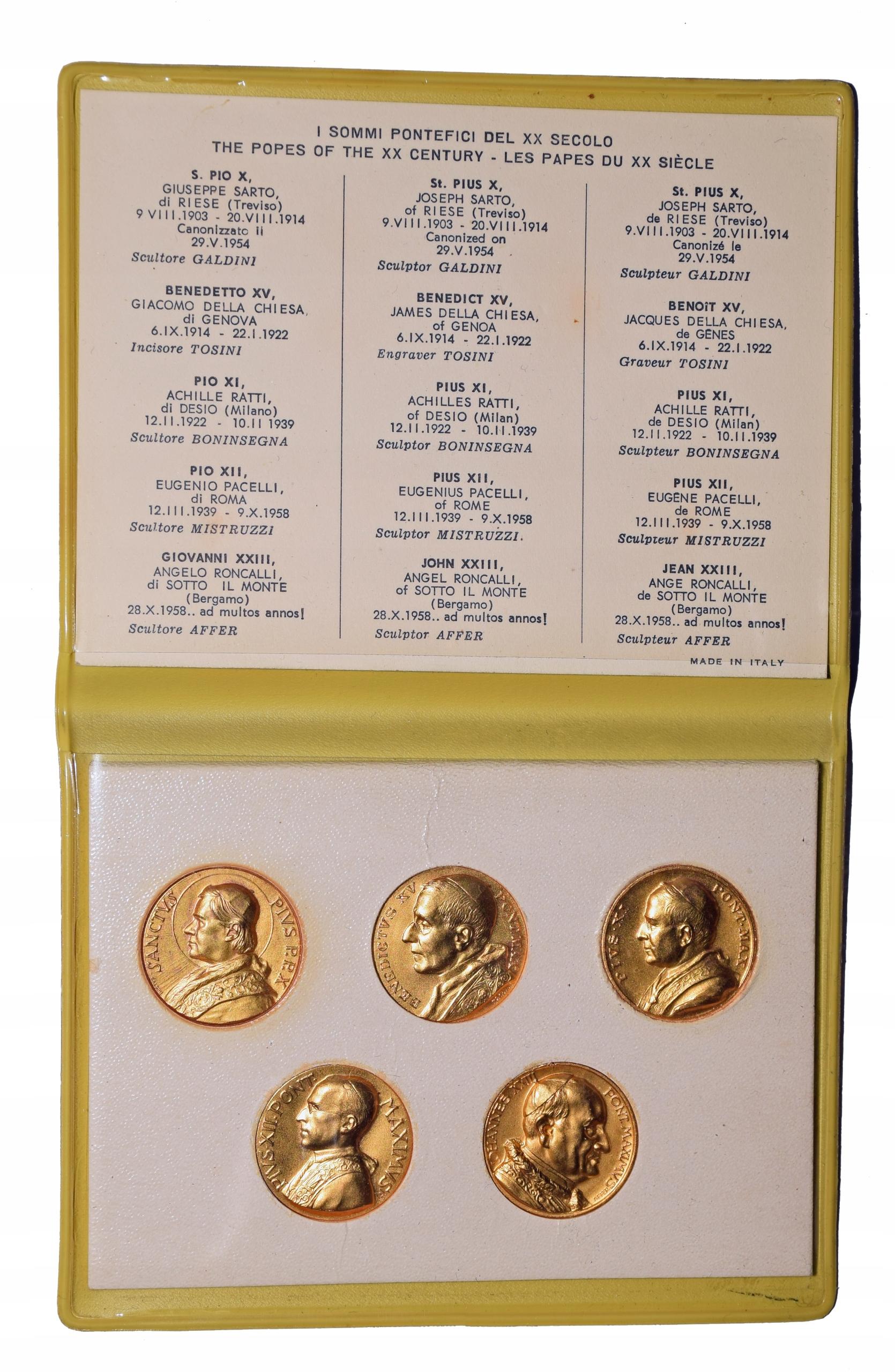 Medale papieskie złocone zestaw do Jana XXIII