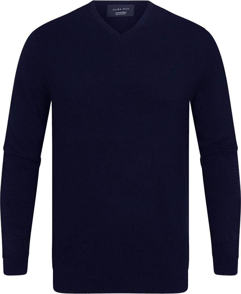 Zara Męski Granatowy Sweter V-Neck S