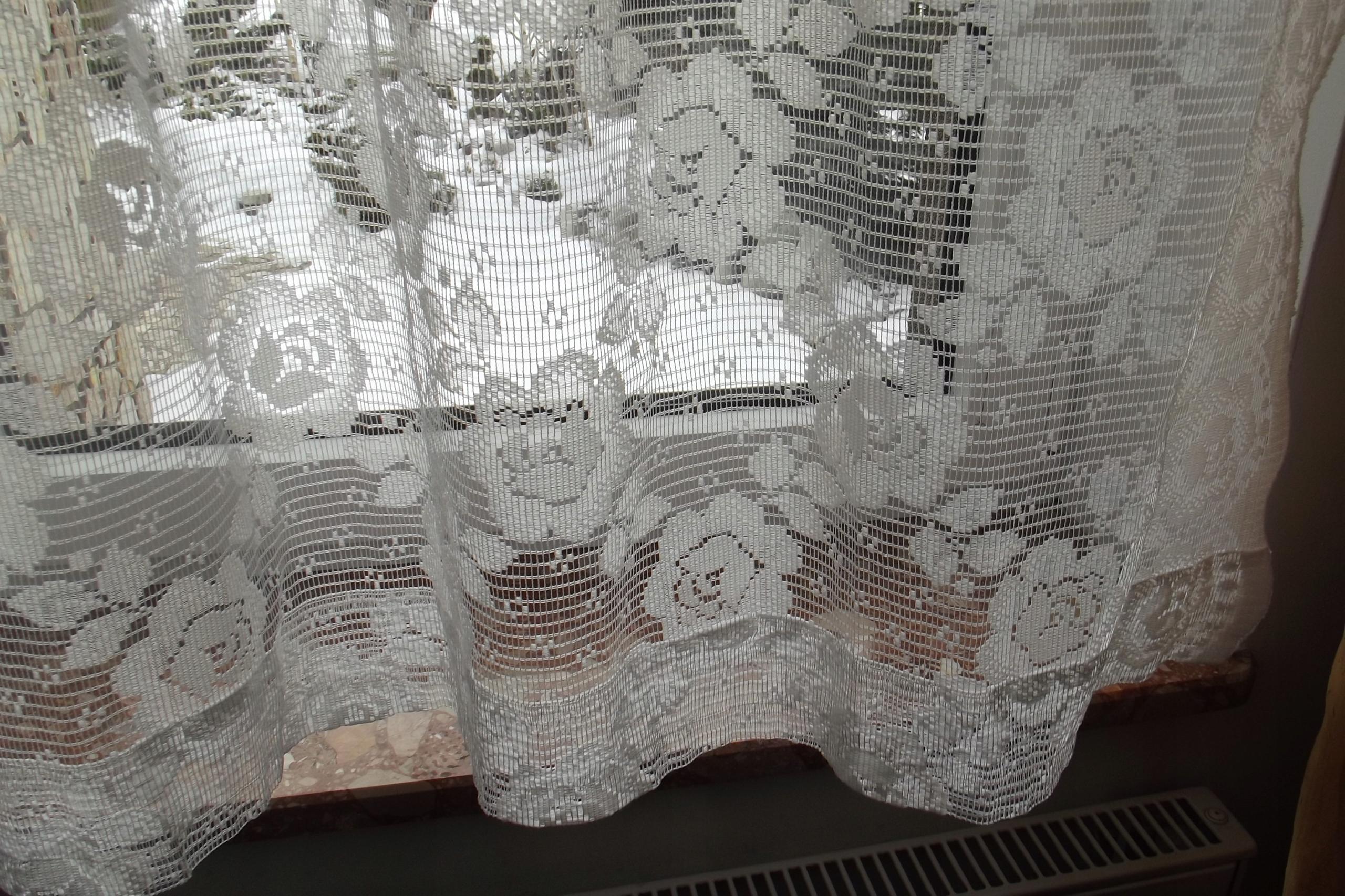Firanki Krótkie Białe Małe Kwiaty żakard 7816588697
