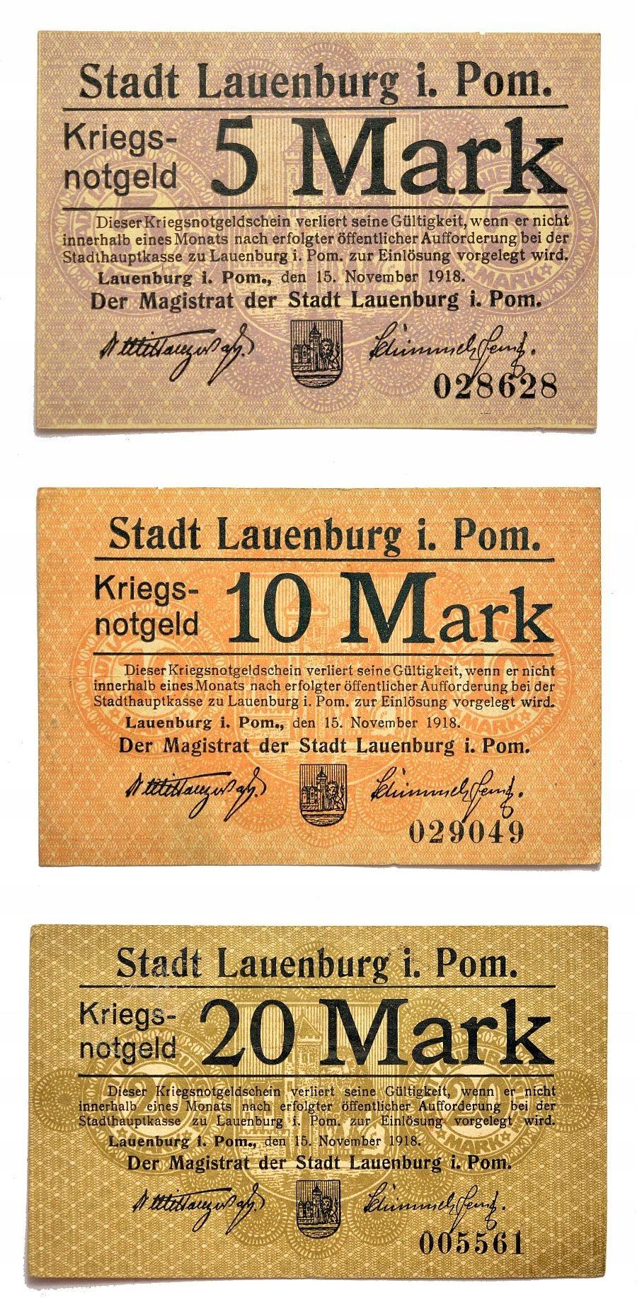 NOTGELD LĘBORK / LAUENBURG POM. ZESTAW 1918 UNC