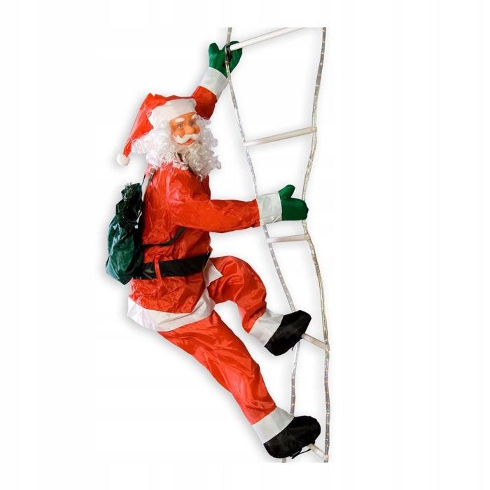 Mikołaj wchodzący po świecącej drabinie LED 240 cm
