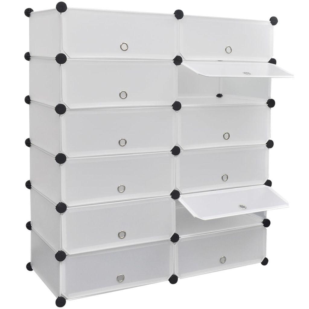 Biały organizer na buty szafka z 12 szufladami 92x