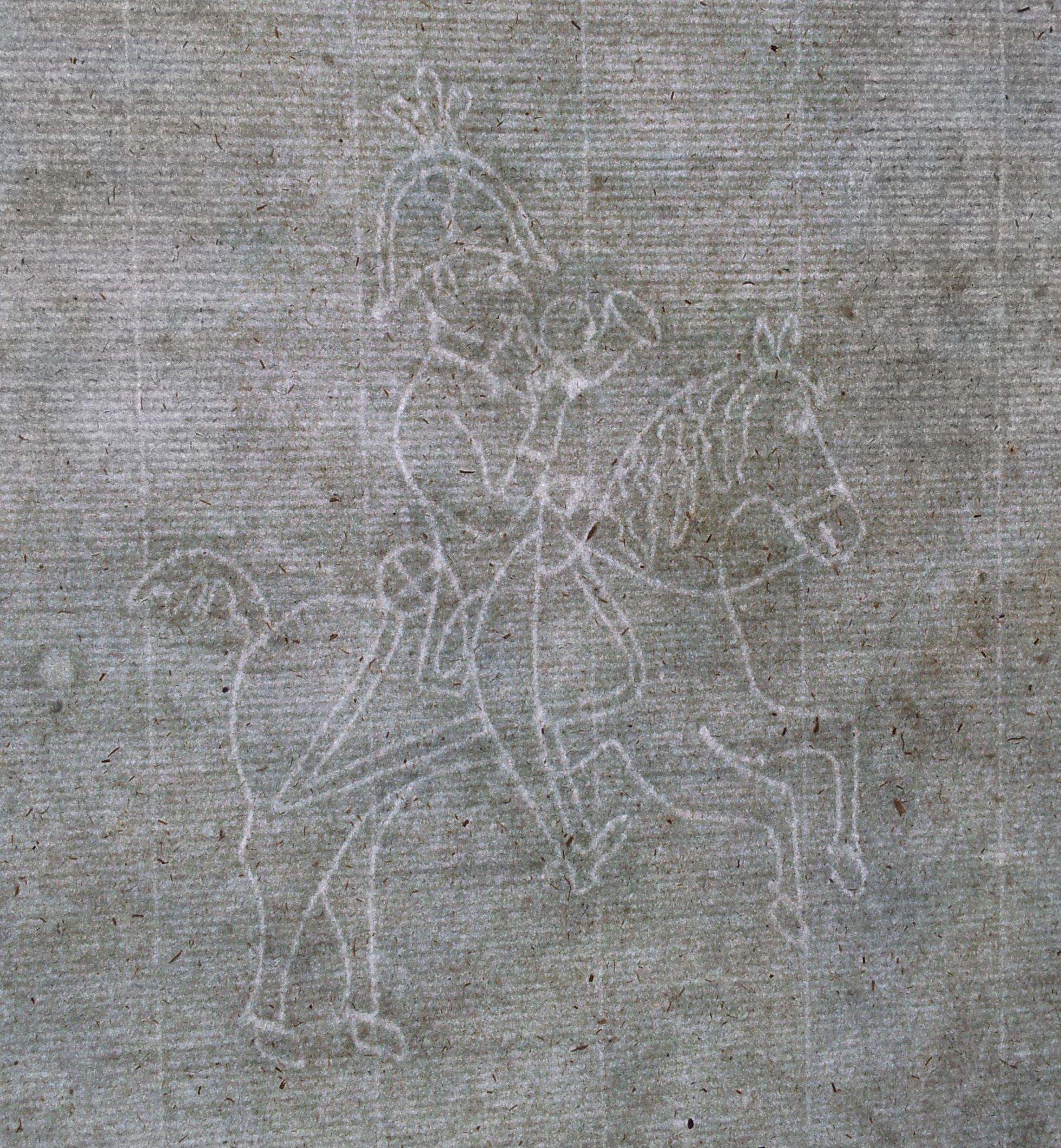 Papier czerpany XVIII w. Pocztylion Jeździec 177