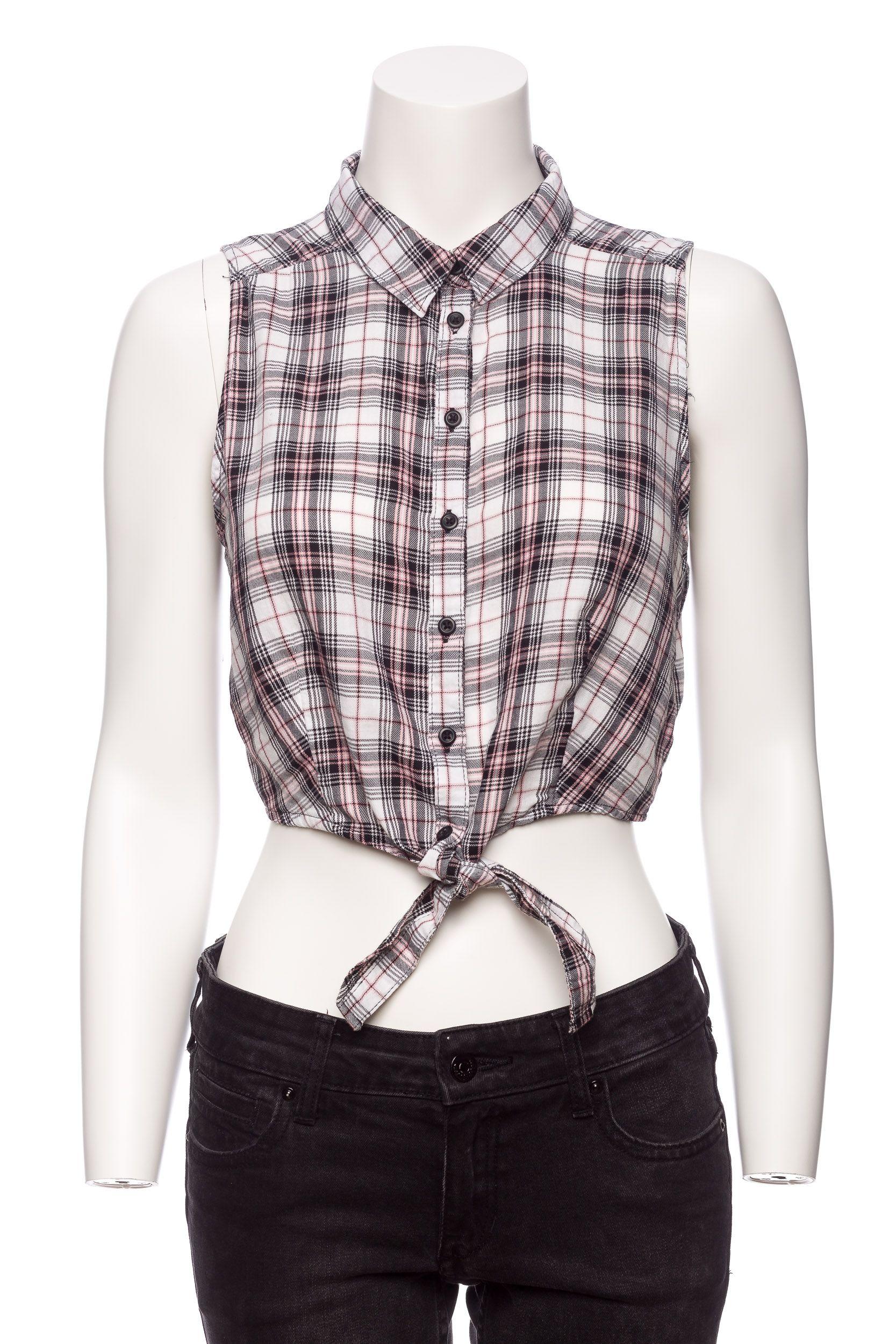 H&M wiązana koszula w kratę crop top r.S