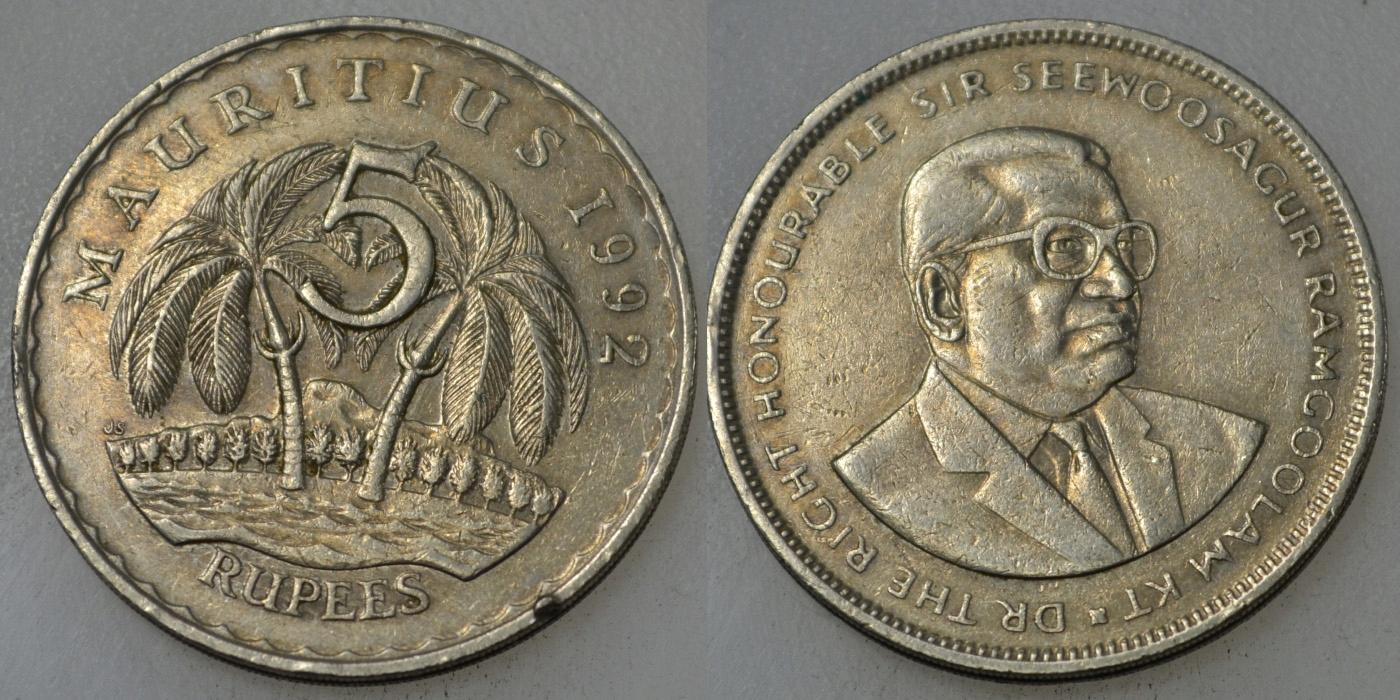 Mauritius 5 Rupia 1992 rok BCM