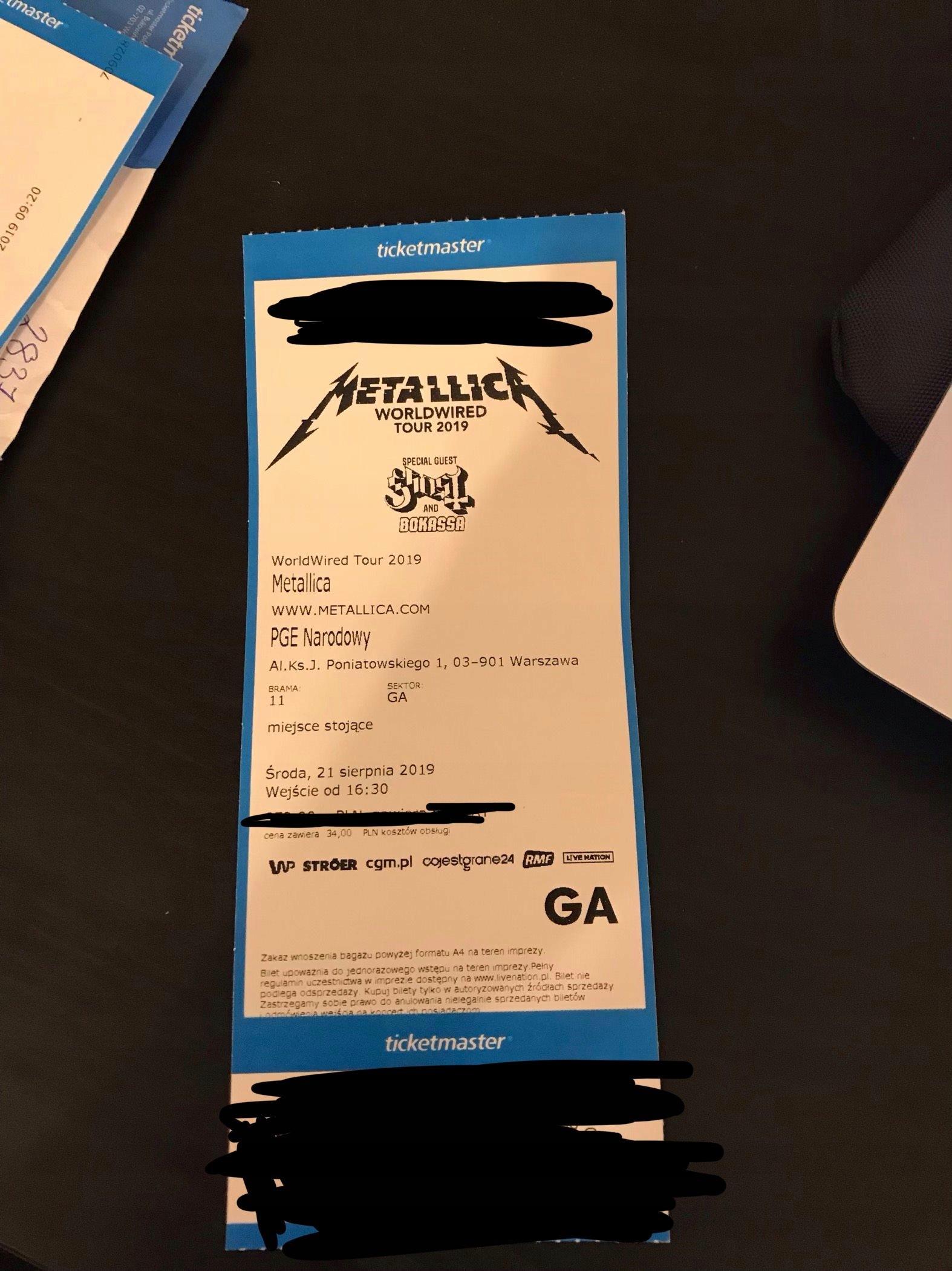 Metallica Płyta GA bilet 21.08 Warszawa +GRATIS