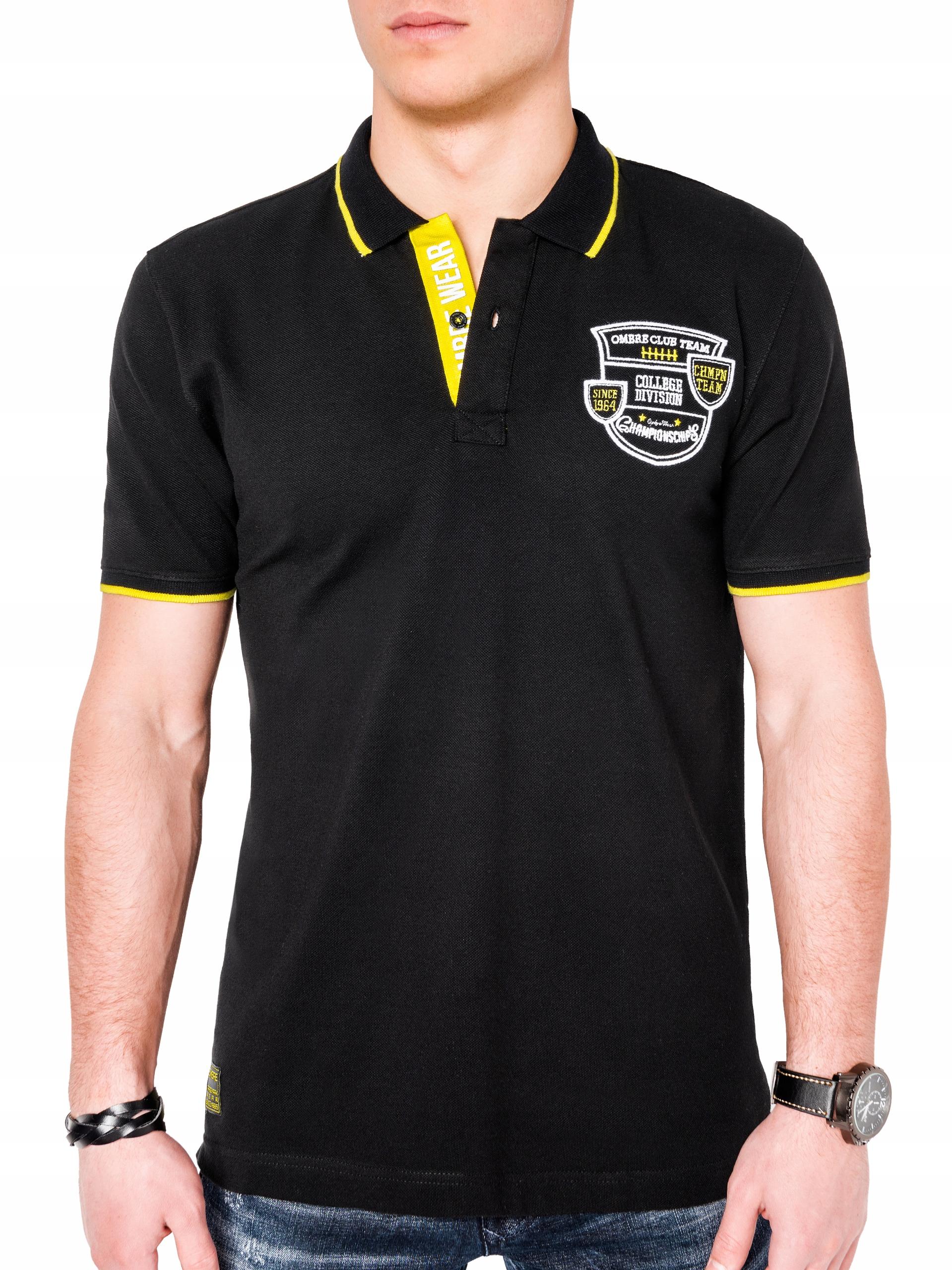 Koszulka polo dla niego kołnierzyk S905 czarna XXL