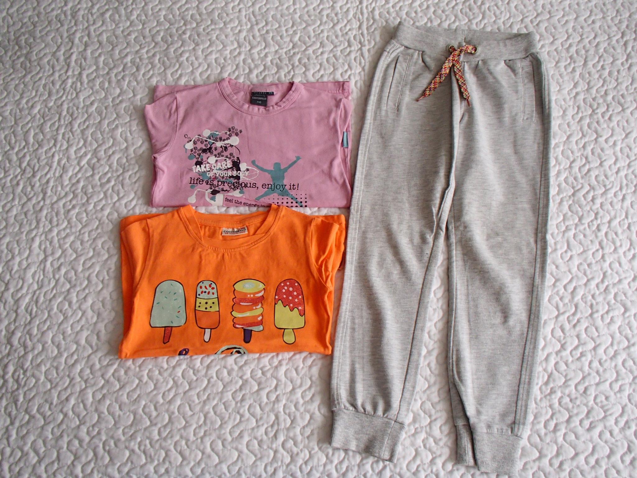 Coccodrillo 2 bluzki i spodnie roz 116-122