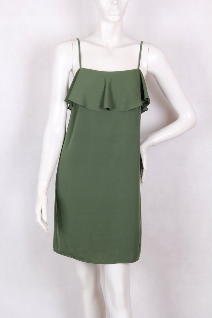 ZARA XS sukienka hiszpanka z falbanką zielona hit