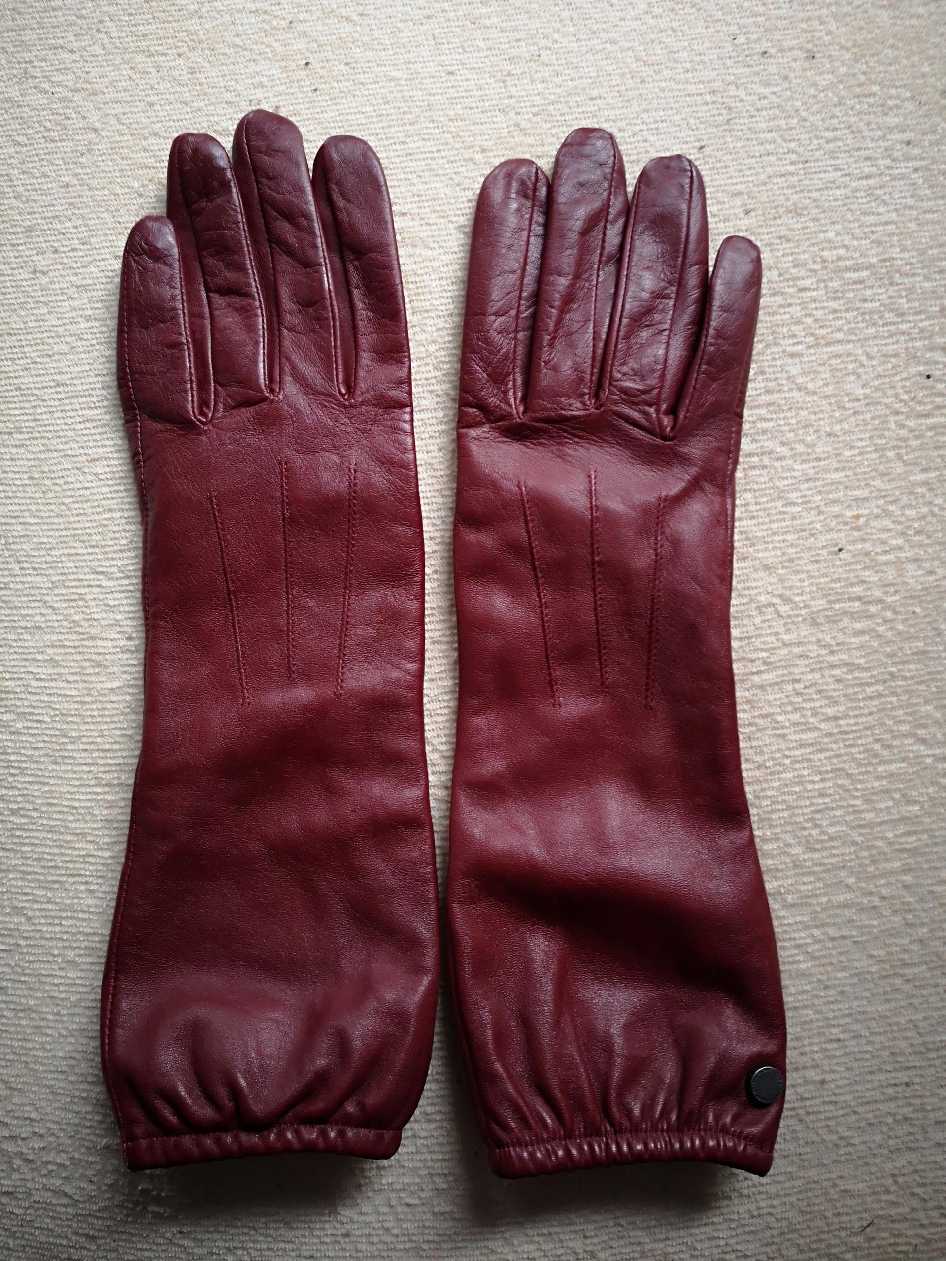 OCHNIK rękawiczki DAMSKIE BORDOWE długie SKÓRZANE