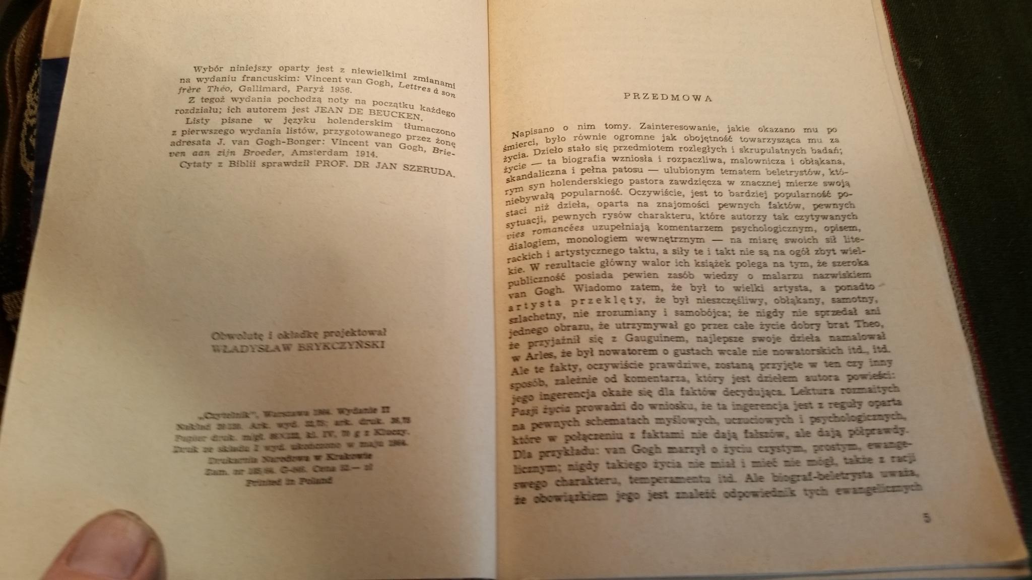 Listy Do Brata Vincent Van Gogh 1964 7444175767 Oficjalne