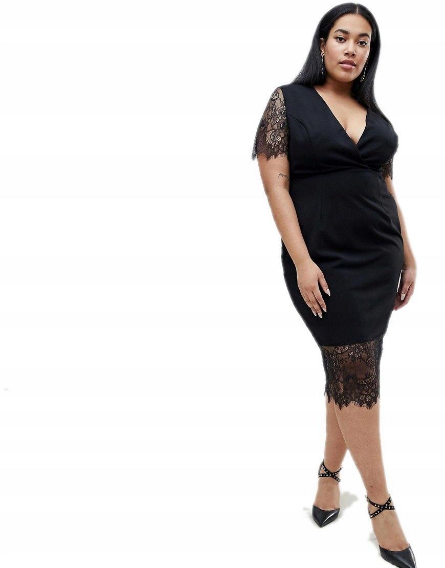 0aca61f668 sukienka plus size CZARNA koronkowa MIDI 3XL 46 - 7523919051 - oficjalne  archiwum allegro