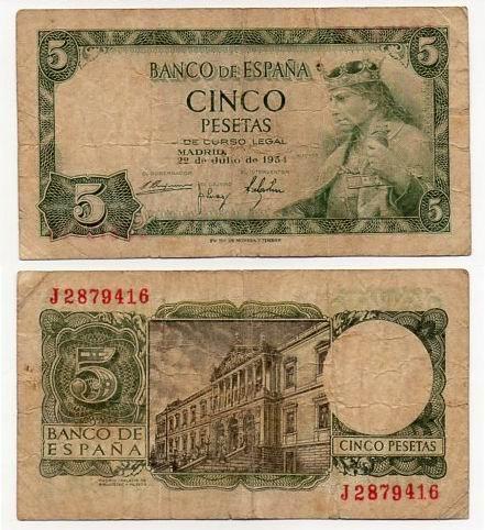 HISZPANIA 1954 5 PESETAS