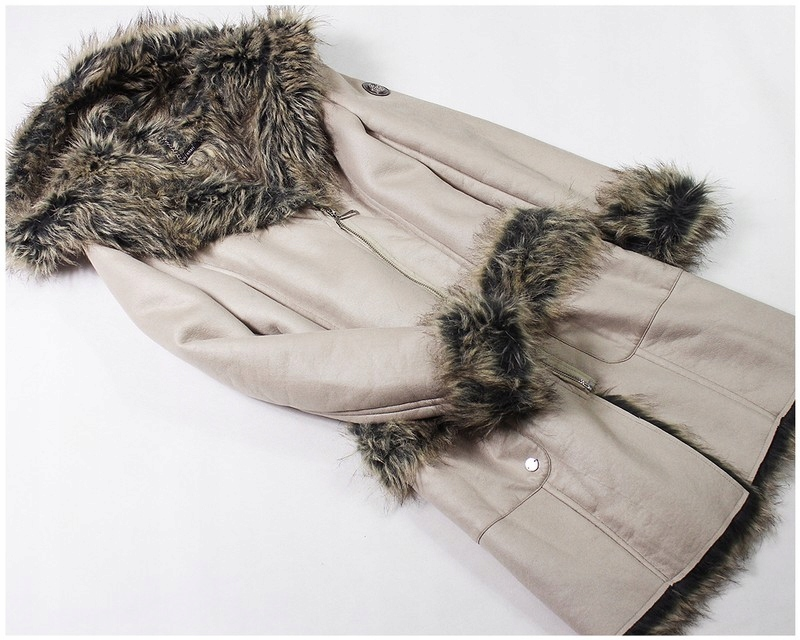 kożuch płaszcz zimowy futerko Monnari