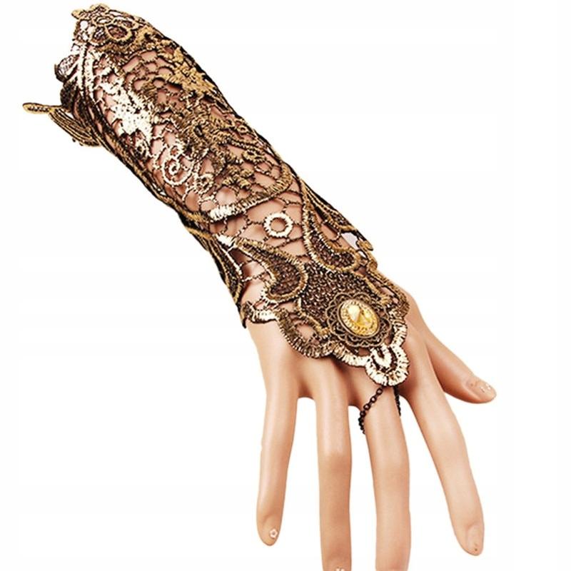 Długa, koronkowa, złota rękawiczka cosplay