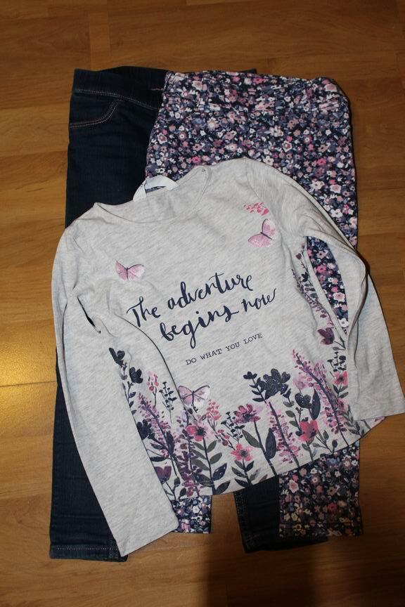 spodnie legginsy 104- 2 sztuki + bluzeczka H&M