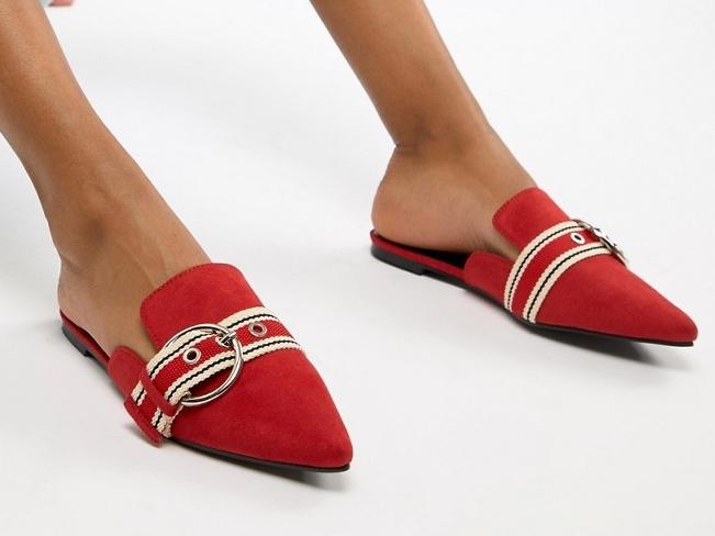 Boohoo klapki Czerwone Szpic z Klamrą 40