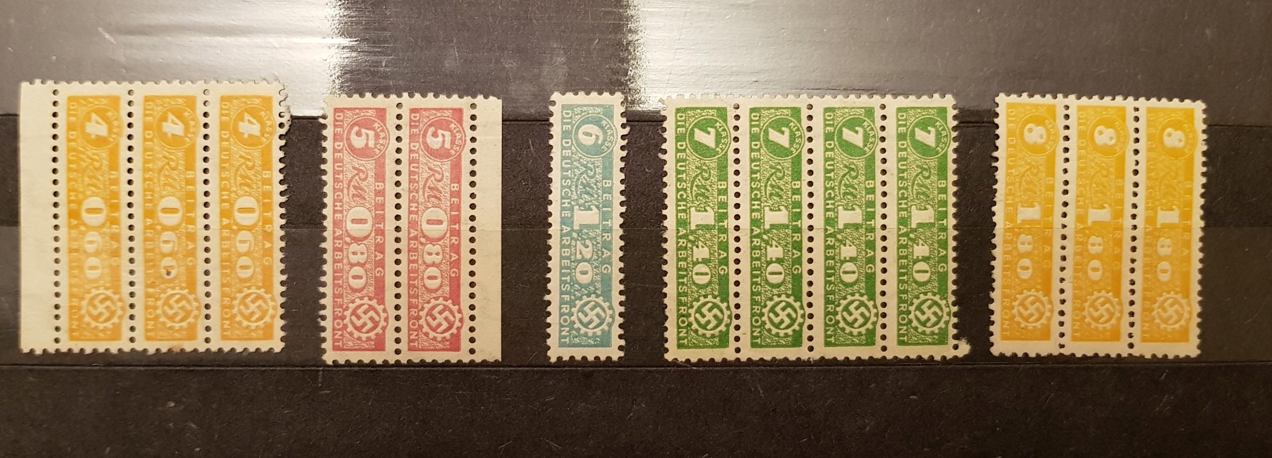 Czyste znaczki DAF Deutche Arbeitsfront III Rzesza