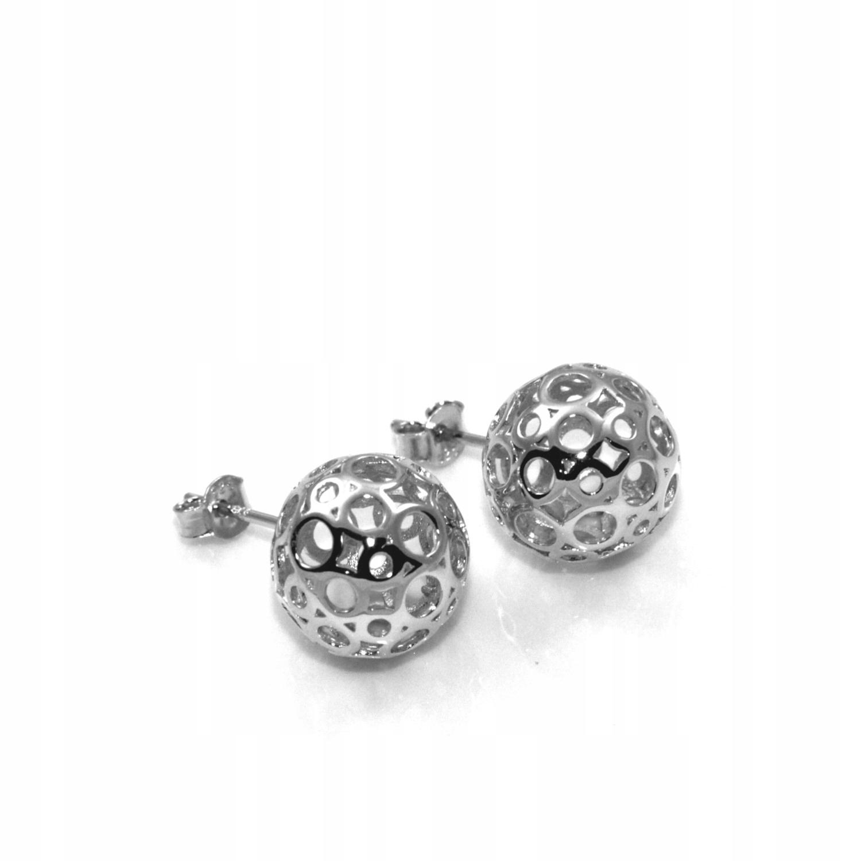 Kolczyki srebrne rodowane kule