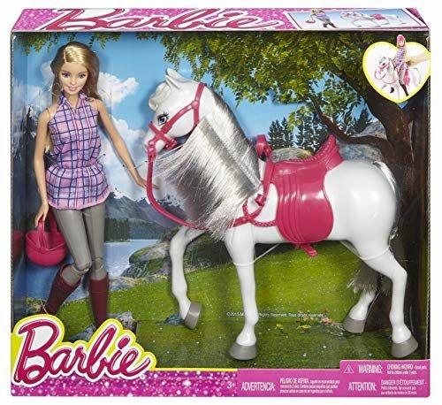 Lalka Barbie dżokejka z koniem białym Mattel DHB68