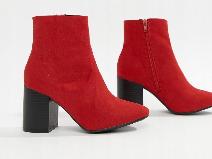 New Look Czerwone Botki czarny obcas 36