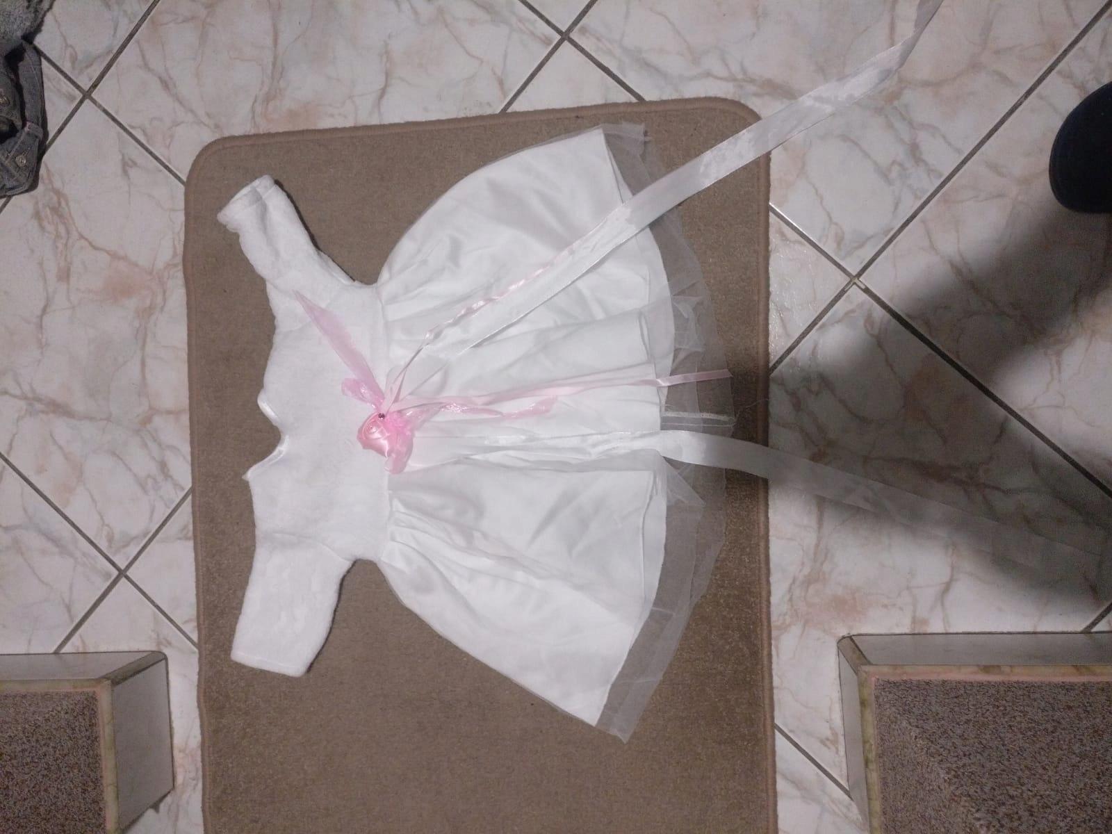 Zimowe ubranko do chrztu dla dziewczynki rom56-62
