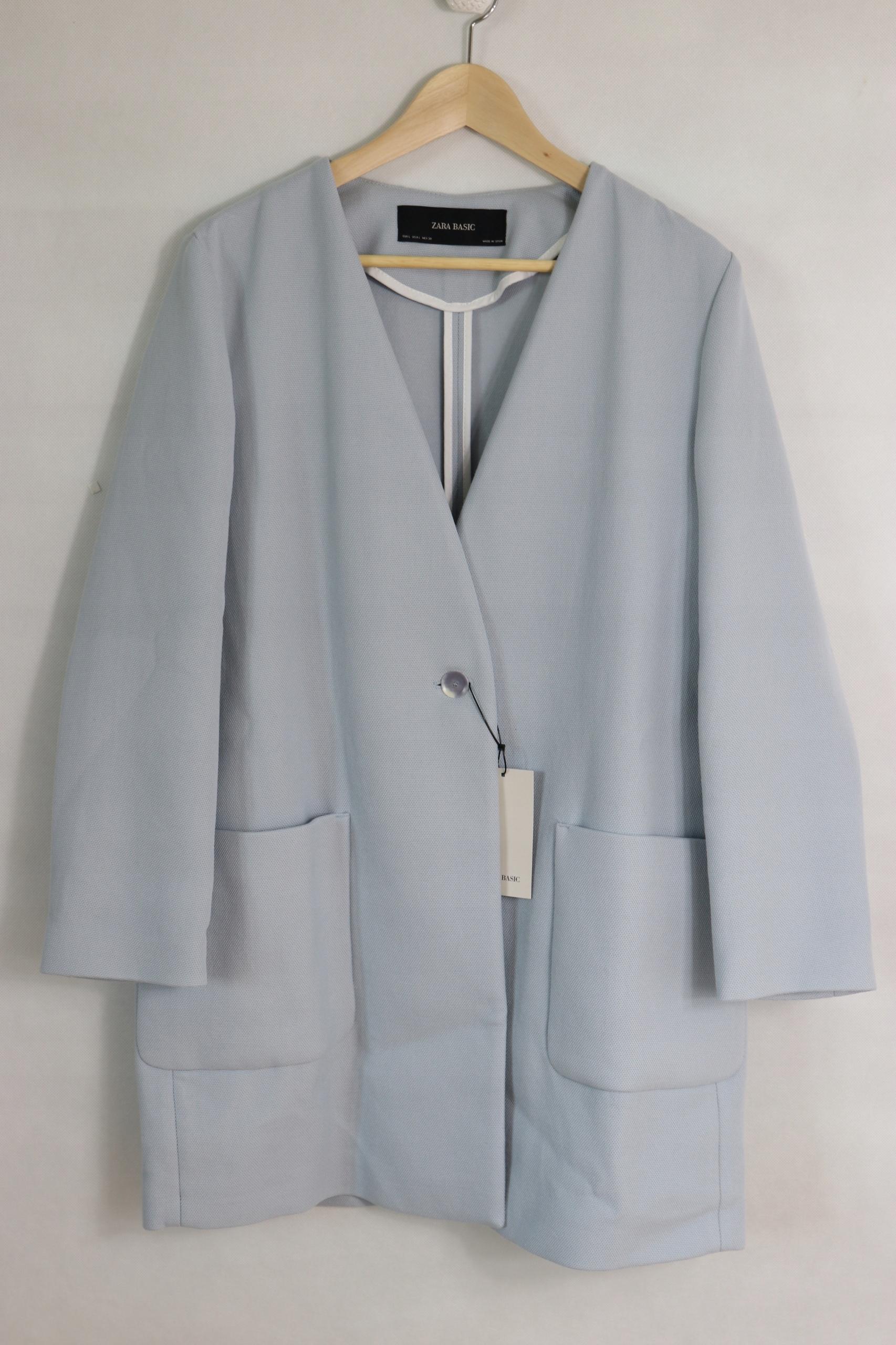 zara luksusowy błękitny płaszcz luźniejszy M * C85