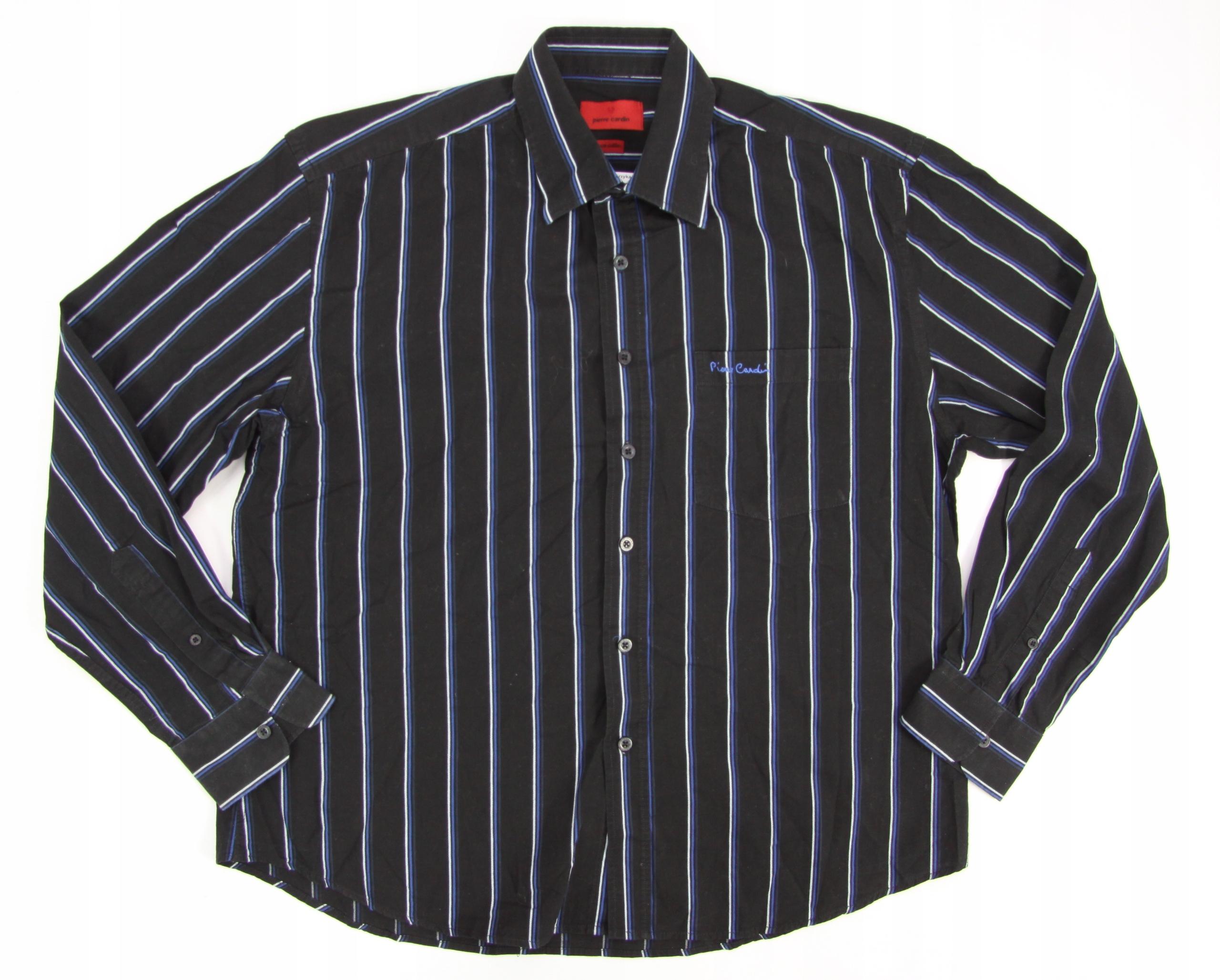 PIERRE CARDIN koszula męska czarna PASKI extra XXL