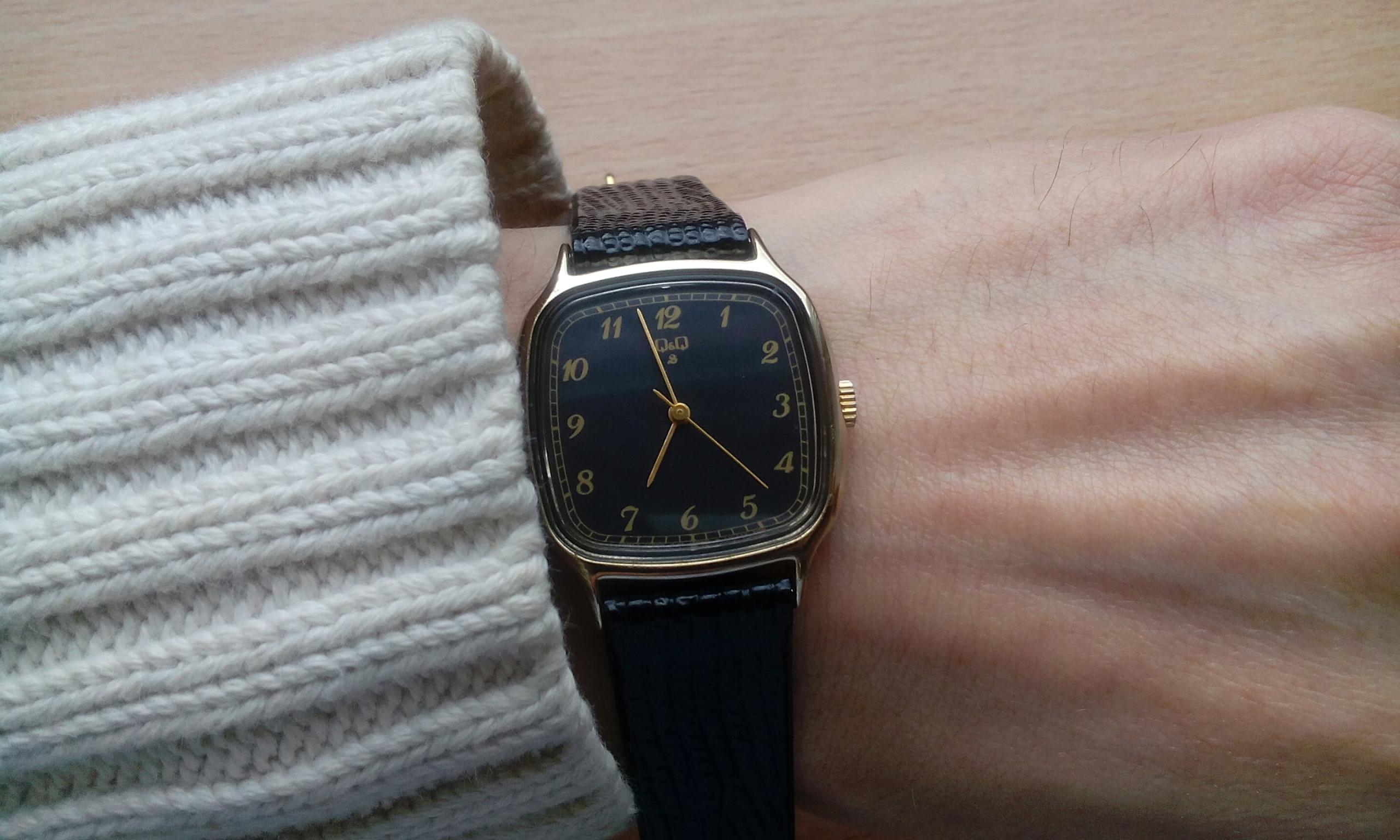 Piękny, damski, męski mechaniczny zegarek Q&Q