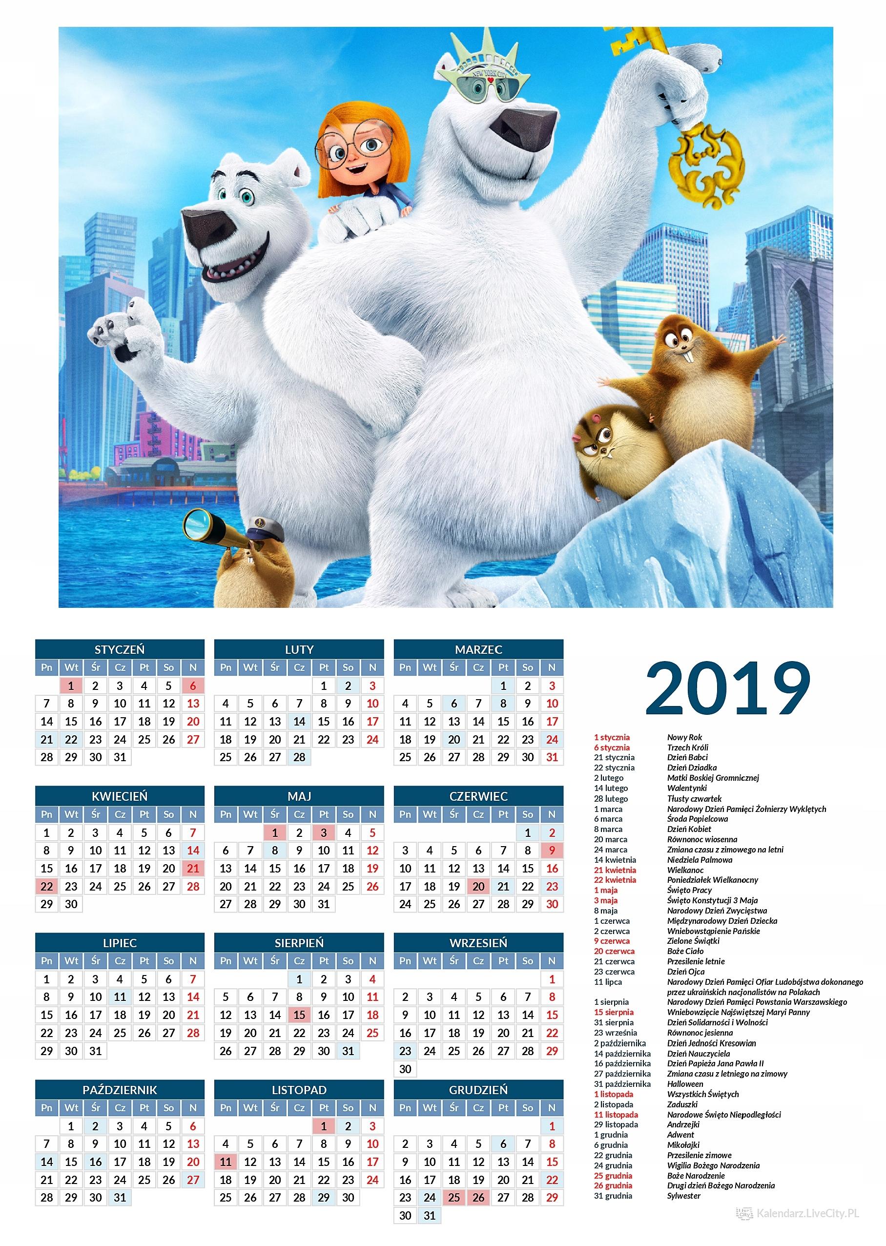 Kalendarz 2019 film miśków 2-óch w nowym Jorku