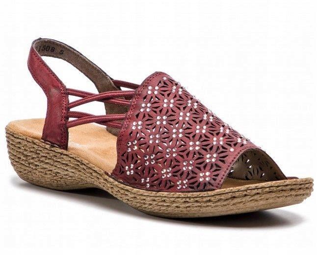 Sandały damskie Rieker bordowe na koturnie 37