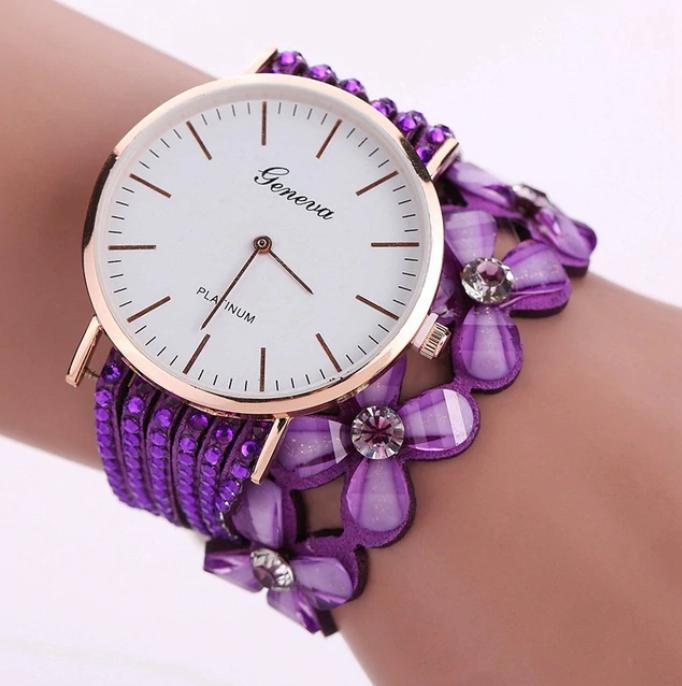 Zegarek damski kwiaty bransoletka kryształ KOLORY