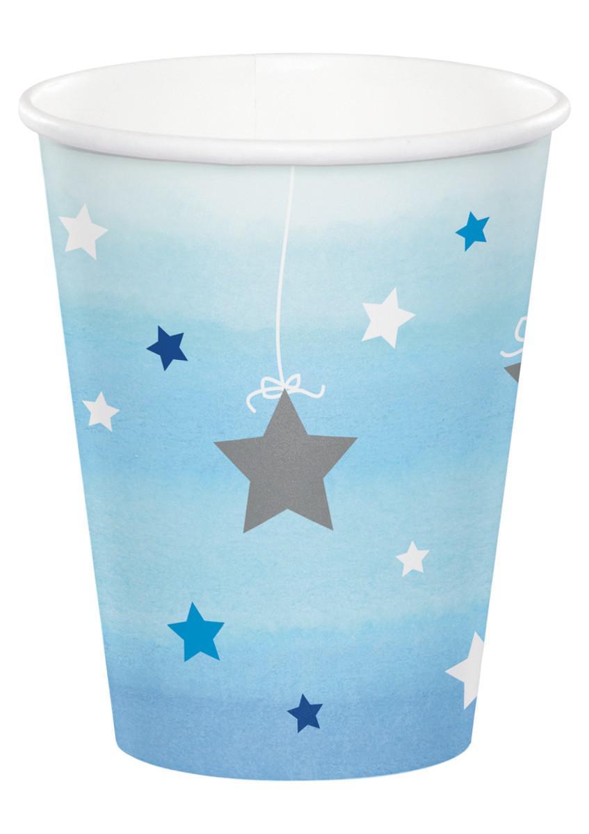 Kubeczki papierowe niebieskie w srebrne gwiazdki