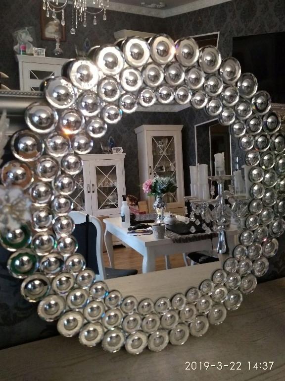 Lustro glamour okrągłe zdobione
