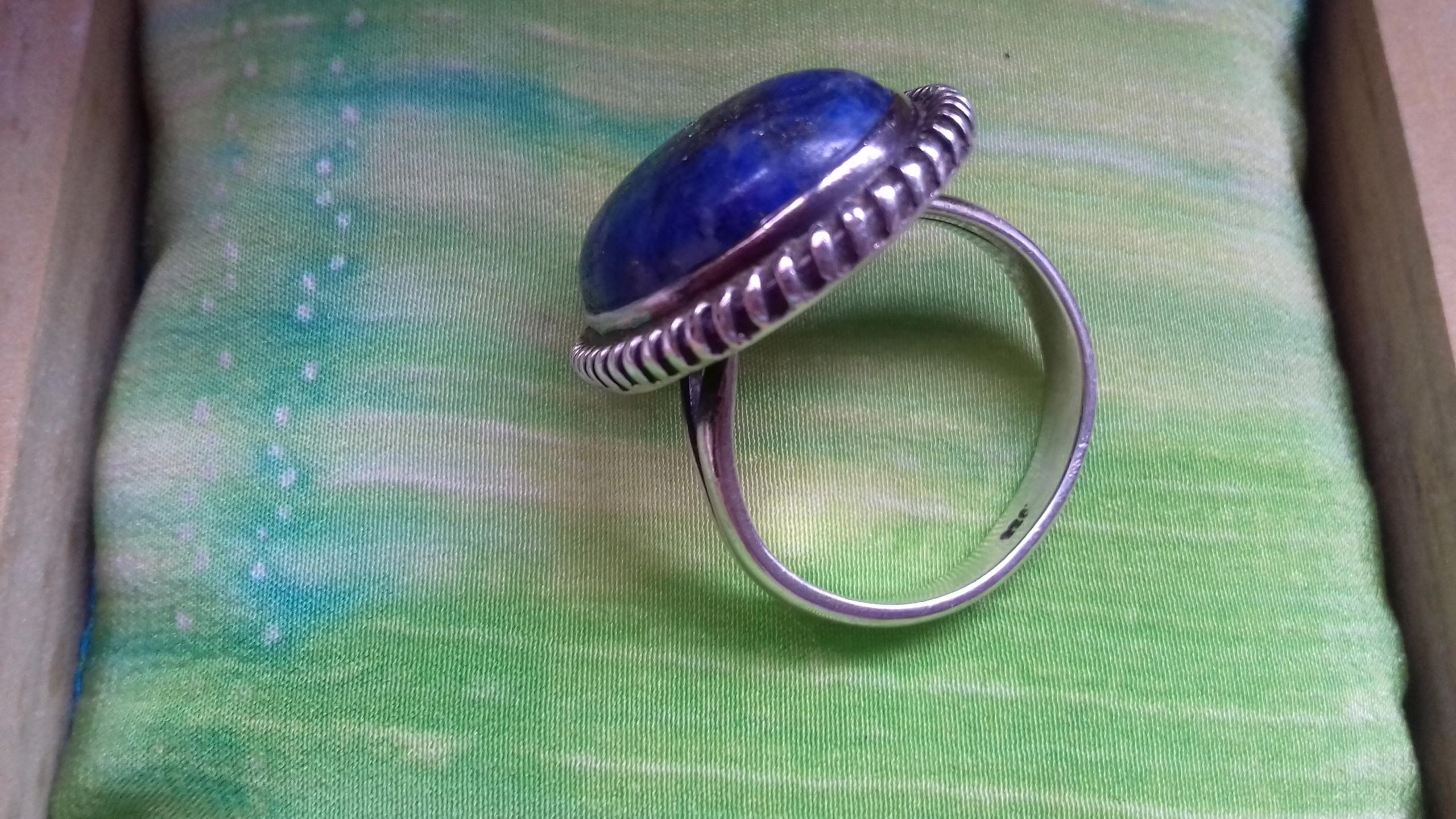 Pierścionek srebro lapis lazuli duży,19 mm śr wew