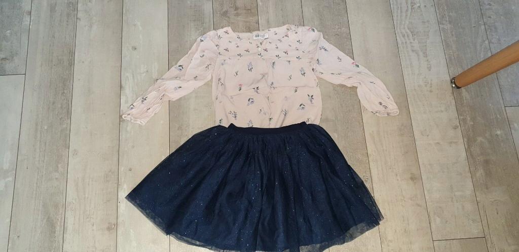 spódniczka tiulowa brokatowa koszula H&M