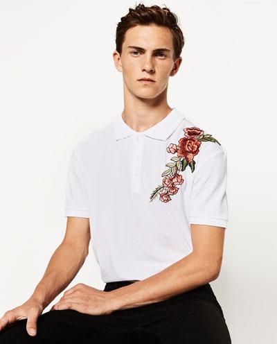 ZARA MAN biała koszulka polo M haft kwiaty NOWA
