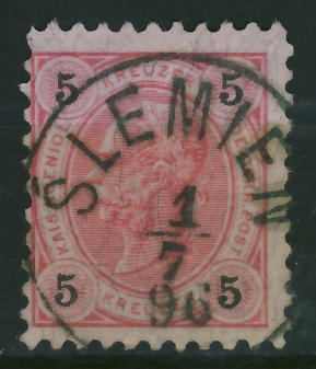 Ślemień 1896 r - stempel na zn.austryjackim